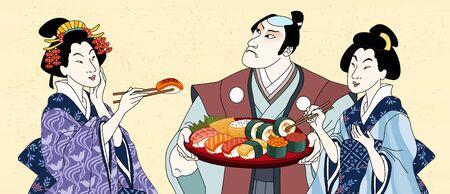 Retro Japanese people eating sashimi together in ukiyo-e style