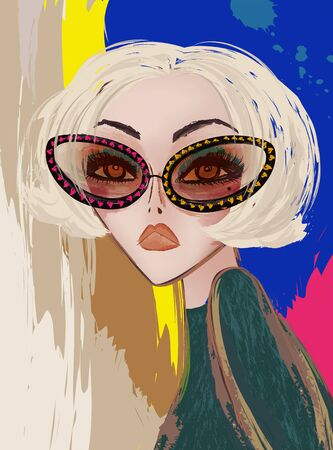 Modern bright blonde short hair woman wearing sunglasses on colorful brush paint background Stock Illustratie