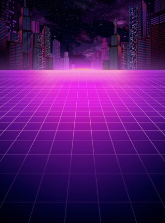 Cyberpunk urban night scene with grid floor copyspace in purple tone 向量圖像