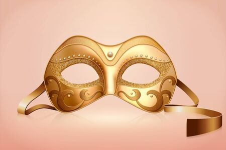 Golden color mask with pearl decorations for carnival party