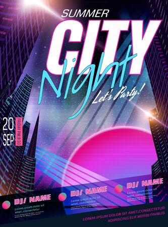 Cyberpunk style music party poster design with night city background