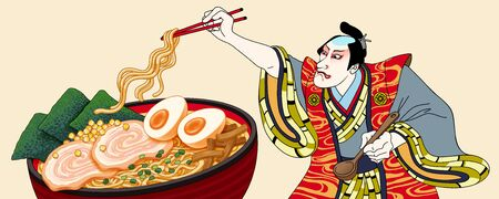 Man is going to eat ramen in ukiyo-e style