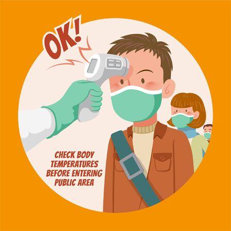 Überprüfen Sie die Körpertemperatur, bevor Sie den öffentlichen Bereich betreten, um im flachen Stil gegen Viren zu kämpfen Vektorgrafik