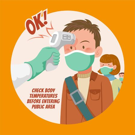 Check body temperature before entering public area to fight against virus in flat style