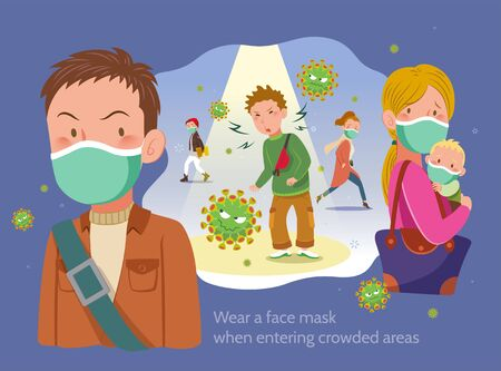 Wearing masks when entering crowded areas, fight against virus in flat style