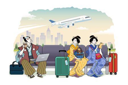 Ukiyo-e style people waiting their flight at terminal