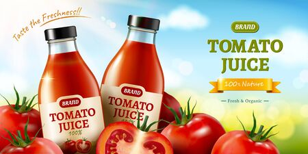 Fresh tomato juice ads with piles of vegetables on bokeh blue sky background in 3d illustration