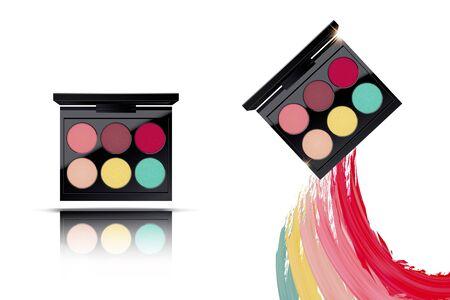 Colorful eyeshadow palette set with smear texture on white background in 3d illustration Vektoros illusztráció