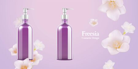 Freesia cosmetic purple pump bottle mockup in 3d illustration