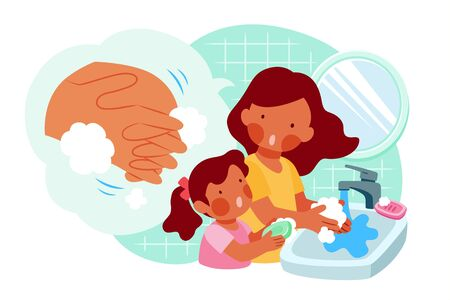 Mom is teaching her daughter how to wash hands properly with soap, COVID-19 hygiene promotion in flat style