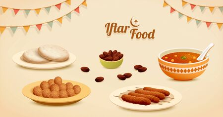 Five Iftar Dishes isolated on beige background with party flags decoration