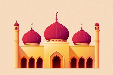 Respberry red dome masjid with minaret isolated on beige pink background 向量圖像