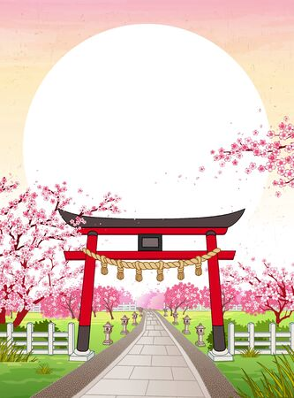 Japan ukiyo-e style cherry blossom garden with traditional Japanese shrine gate guarding the entrance and large sun hanging above as copy space