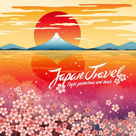 Japan travel promo poster, designed with breathtaking dusk view of Mount Fuji reflected in the still waters and cherry blossom blooming on shore