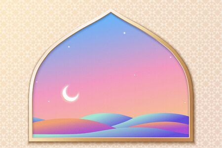 Dreamy neon color night desert scenery looking through from islamic arch window on arabesque background