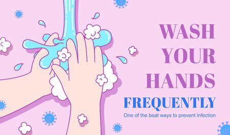 Wash your hands frequently with soap on light purple background, COVID-19 prevention