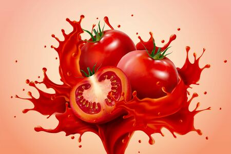 A powerful splash of fresh tomato juice with whole and sliced tomatoes on salmon pink background, as element for food product or drink ad, 3D illustration Vettoriali