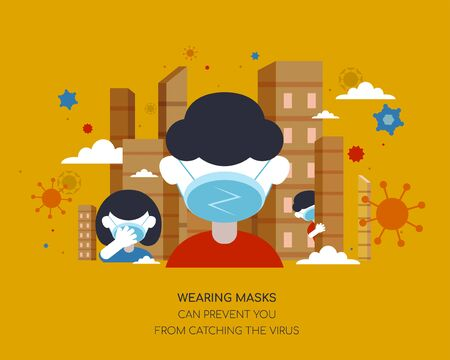 People wearing masks in the city in flat design on mustard yellow background, Coronavirus prevention illustration