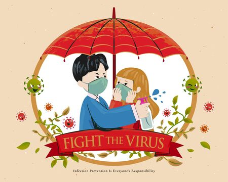 Couple under a red umbrella fight coronavirus together with alcohol spray