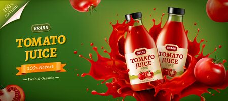 Realistic glass bottles in powerful splashes of tomato juice with tomatoes aside, for banner ad template use, 3D illustration