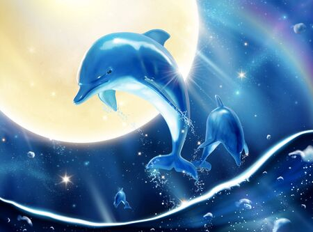 Lovely breaching bottlenose dolphins upon attractive universe sky in 3d illustration marine mural