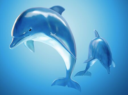 Two jumping bottlenose dolphins in 3d illustration