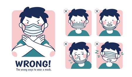 Illustration de prévention COVID-19, les exemples incorrects de port d'un masque Vecteurs