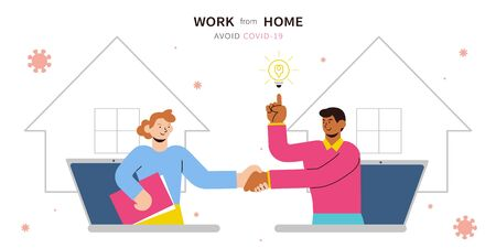 Work from home banner, with two men discussing a great idea through video conferencing during COVID-19 global pandemic