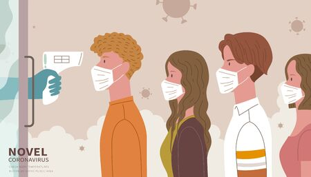 People lining up for body temperature check before entry, COVID-19 prevention illustration in flat style