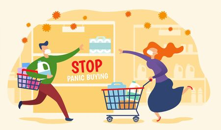 Concept of panic buying during COVID-19 outbreaks, with a man and a woman rushing to grab the last toilet paper roll on shelf