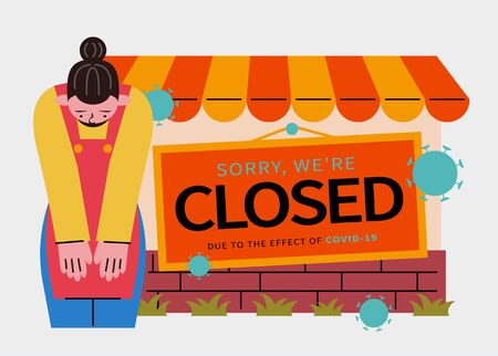 Sorry we are closed sign for stores or business, designed with a young clerk bowing to express sincere apology for the inconvenience