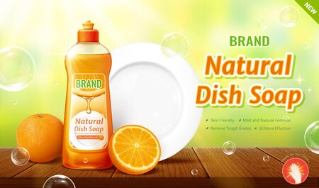 3d illustration natural dish soap ads, product and the white clean plate placing on wooden table, bokeh green nature background