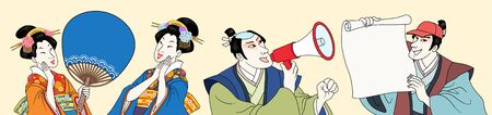 Ukiyo-e people holding paddle fan, megaphone and blank paper roll