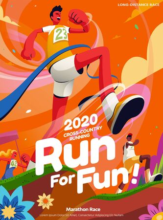 Lively cross-country running event poster in orange tone with a man crossing the finish line