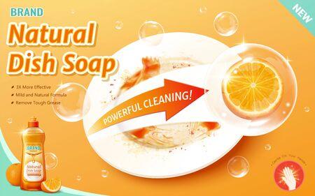 3D-Darstellung, effektive Spülmittelwerbung mit natürlicher Formel, Orange in der Blase wischt die Fettflecken auf der Platte ab