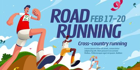 Road running event banner design with energetic competitors crossing different terrains