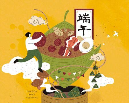 Miniaturmädchen mit Datteln und in Richtung riesiger Reisknödel auf Bambusdampfer, Drachenbootfest in chinesischer Kalligraphie geschrieben