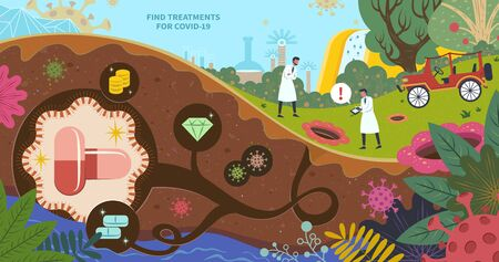 Scientists keep searching new treatments for COVID-19 in beautiful garden, flat design conceptual illustration with giant capsules and pills hiding underground