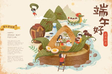 Miniature people wrapping zongzi upon bamboo steamer and floating on river, Happy Dragon Boat Festival and May 5th written in Chinese words Ilustração