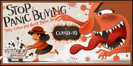 Stop panic buying banner with a woman chased by coronavirus monster due to her hoarding behavior