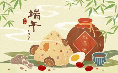 Dragon boat festival realgar wine and zonzi illustration on green background, Duanwu, date and wine's name written in Chinese calligraphy