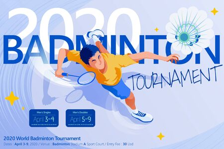 Badminton tournament poster template, top view of a male character jumping high to strike shuttlecock, in flat style