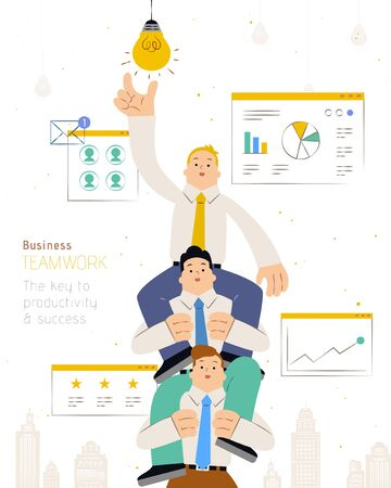 Business teamwork flat design with three businessmen reaching the light bulb by sitting on partner's shoulder
