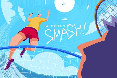 Badminton tournament poster, bottom up view of one player doing jump smash with another player trying to defense, in fish eye view
