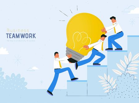Teamwork concept flat design with businessman carrying giant light bulb up to the stairs, blue background