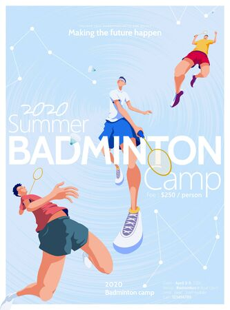 Badminton camp promotion poster, with three players doing different kind of strikes on abstract starry night background Çizim