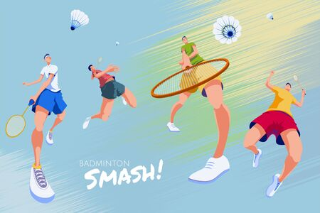 Badminton promotion poster, designed with four energetic players doing different kind of strikes on abstract background Çizim