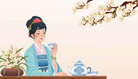 Ancient Chinese girl sitting at table and enjoying a cup of hot tea, banner in flat design with copyspace Ilustración de vector