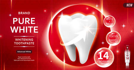 Pure white toothpaste ads with giant clean tooth over red halftone background in 3d illustration Çizim