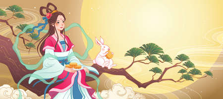 Mid Autumn Festival banner with beautiful Chang e enjoys full moon and mooncakes on a pine tree branch